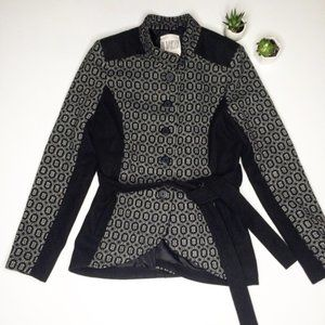 BB Dakota Large Black Printed Pea Coat